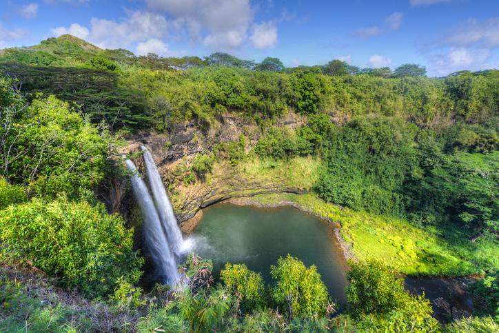 planning a trip to Hawaii Wailua Waterfall on the island of Kauai flows into the Wailua River