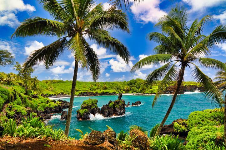 planning a trip to Hawaii Black sand beach located on the road to hana on Maui