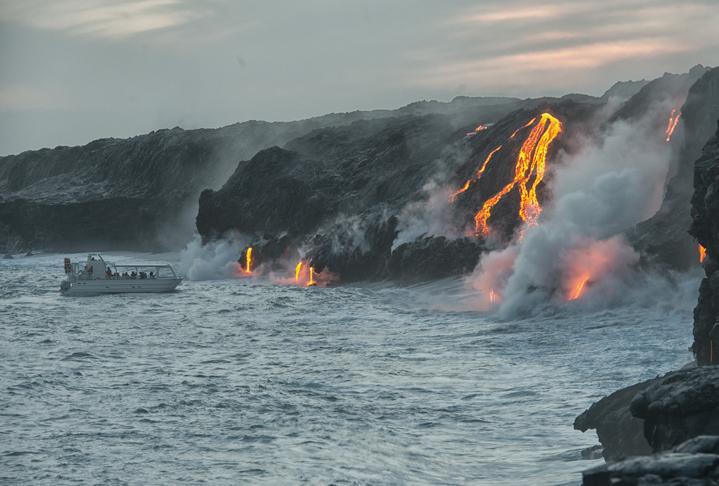 boat near lava